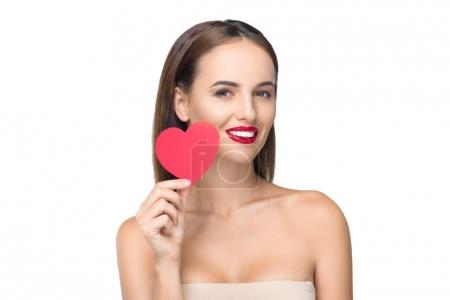 Young woman with heart symbol