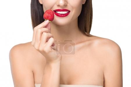 young woman with strawberry