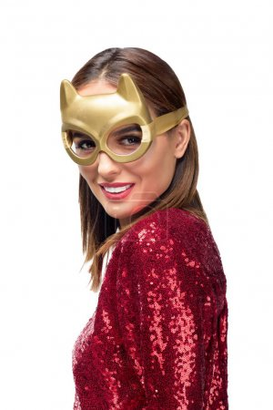 gorgeous woman in golden mask