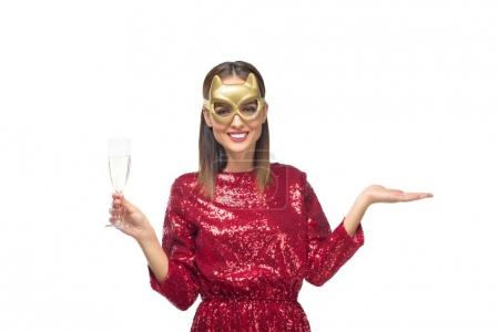 girl in mask drinking champagne