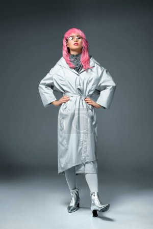 fashionable girl with pink hair