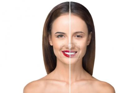girl before and after makeup