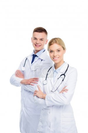 doctors in white coats with stethoscopes