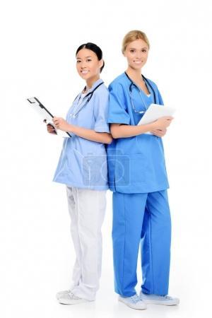 multiethnic surgeons with stethoscopes