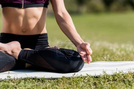 Photo pour Plan recadré de femme dans Lotus Pose pratiquer le yoga à l'extérieur - image libre de droit