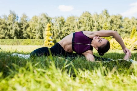 woman doing side bend