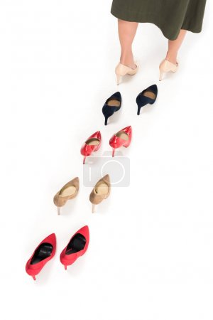 woman and various stylish high heels