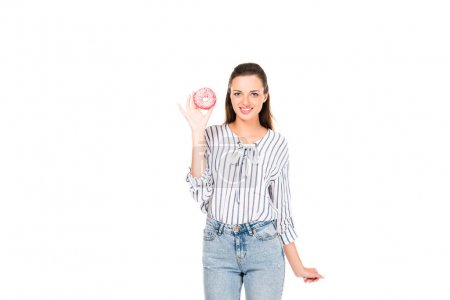 Photo for Portrait of smiling young woman with doughnut in hand looking at camera isolated on white - Royalty Free Image