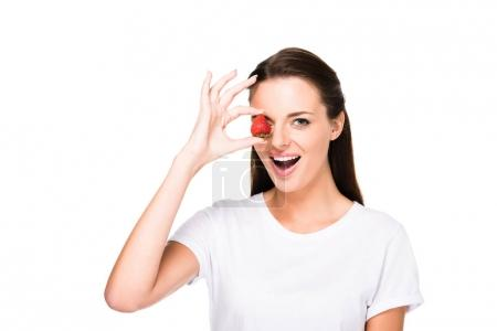 woman with fresh strawberry
