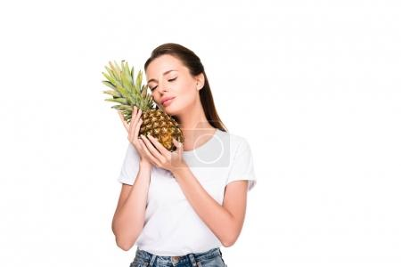 Photo for Portrait of woman with fresh pineapple isolated on white - Royalty Free Image