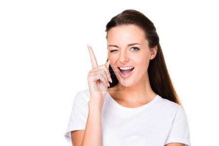 woman winking at camera