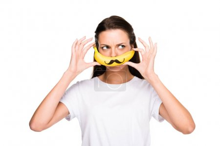 woman with fresh banana