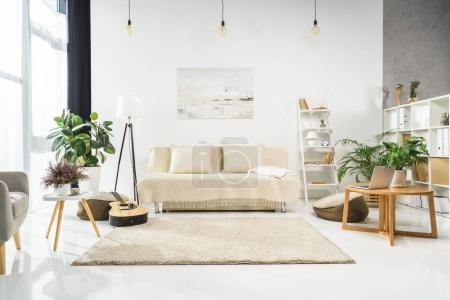 Photo for Minimalistic living room interior with white furniture and plants, lit by bright sunlight - Royalty Free Image