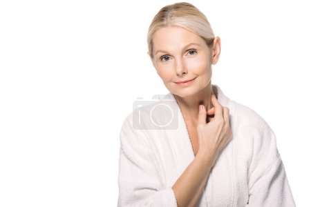 mature woman touching neck
