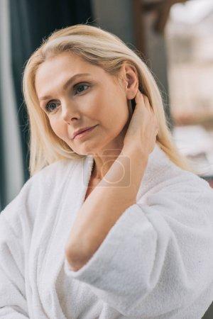 mature woman in bath robe
