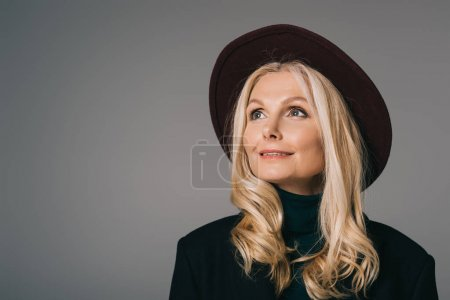 mature woman in black hat