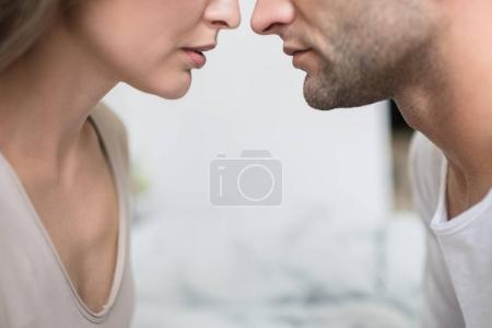 girlfriend going to kiss boyfriend
