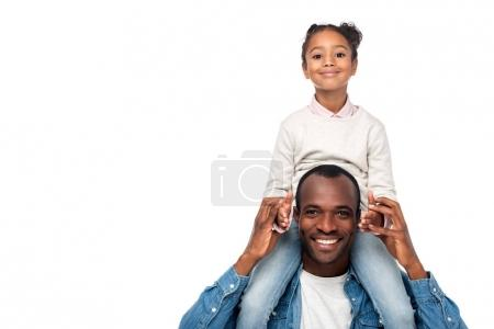 father carrying daughter on neck