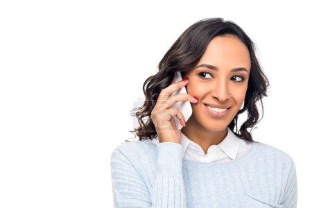 African american woman talking on smartphone