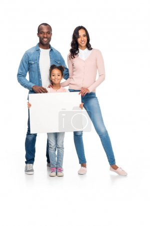 african american family with blank card