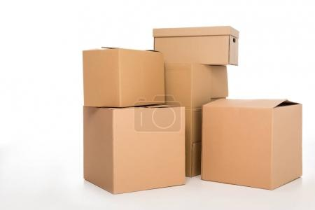 Photo for Close-up view of cardboard boxes isolated on white - Royalty Free Image