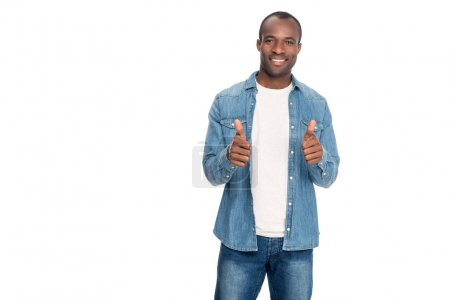 african american man showing thumbs up