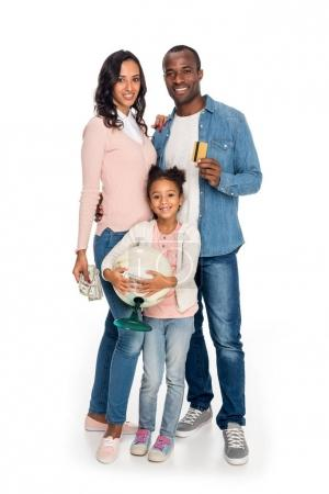 family with globe, money and credit card