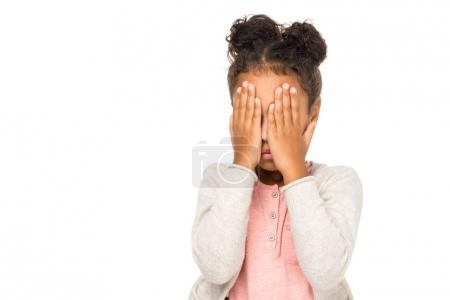 Photo for Cute african american kid closing eyes with hands isolated on white - Royalty Free Image