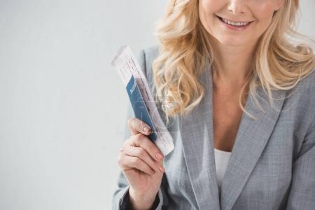 businesswoman with flight ticket