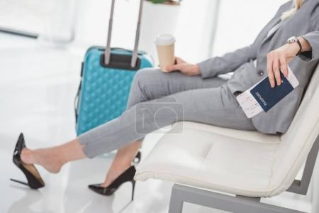businesswoman waiting for trip