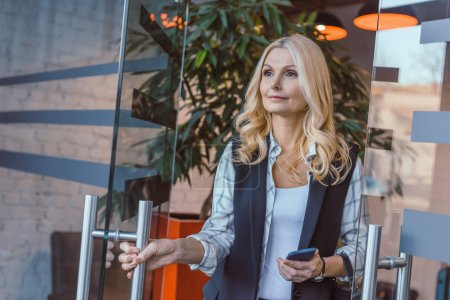 woman going out of office