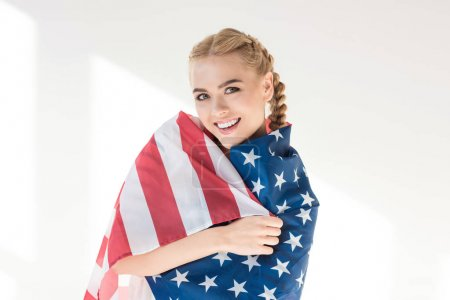 young woman with us flag