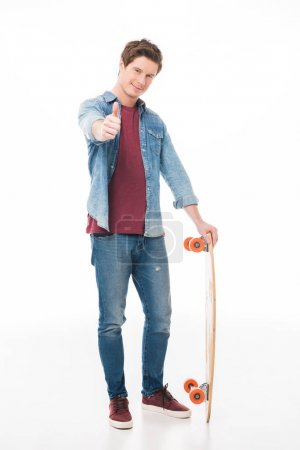 man with skateboard showing thumb up