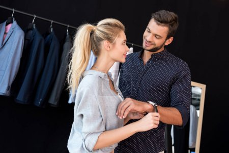Couple buying wristwatch