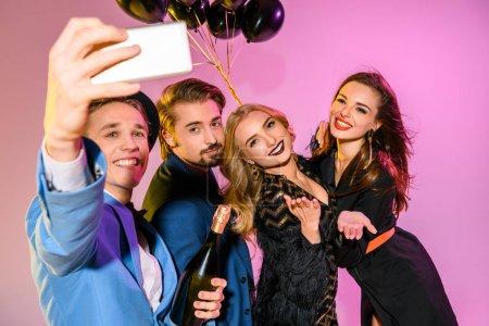 friends taking selfie together