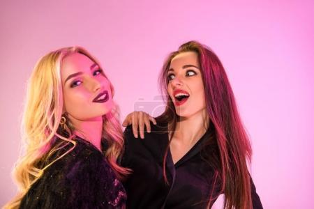 shocked glamorous girls