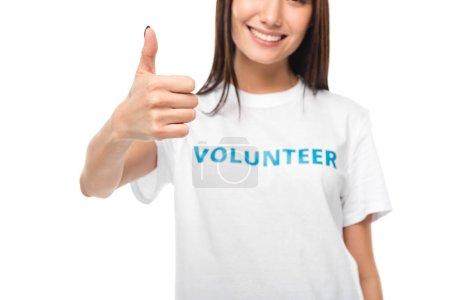 female volunteer showing thumb up