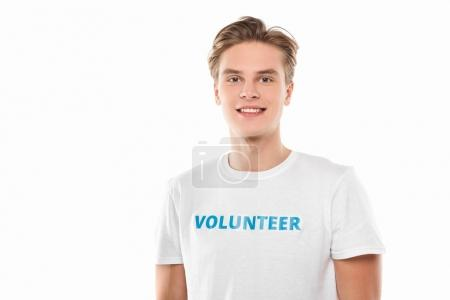 Photo for Handsome young volunteer isolated on white - Royalty Free Image
