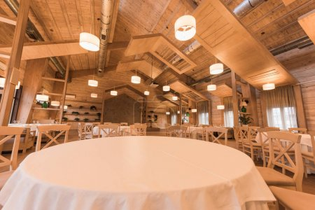 Empty restaurant with wooden interior