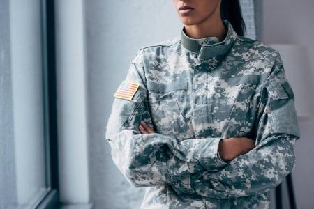 military uniform with usa flag emblem