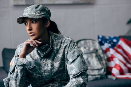 pensive african american female soldier