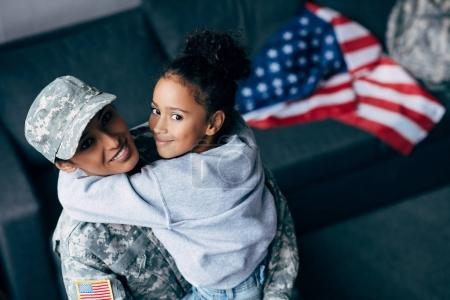 daughter and female soldier