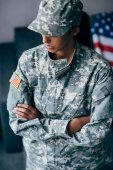 "Постер, картина, фотообои ""женщина-солдат"""