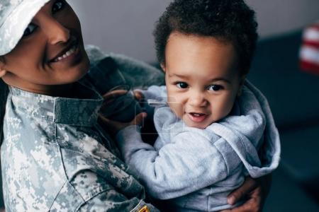 soldier with little son