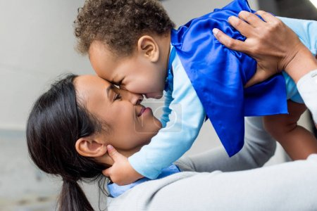 happy african american mother and son