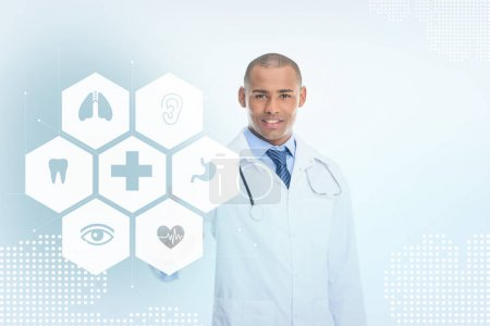 pointing african american doctor