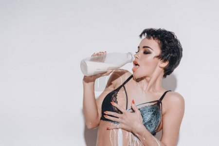Sexy girl with milk
