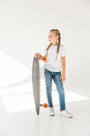 happy child with skateboard