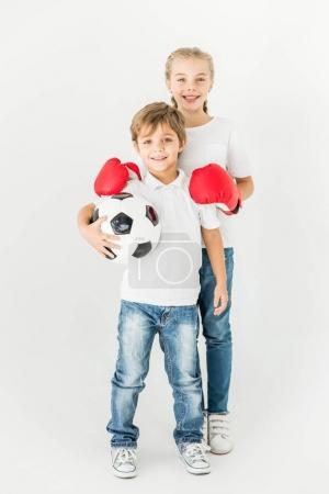 kids with soccer ball and boxing gloves