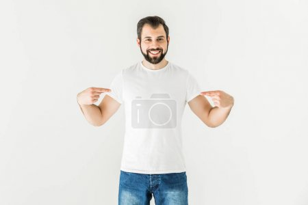 man pointing at t-shirt